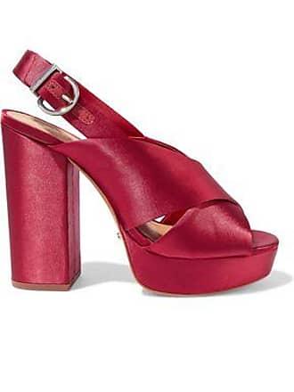 Schutz Schutz Woman Millie Satin Platform Slingback Sandals Crimson Size 5.5