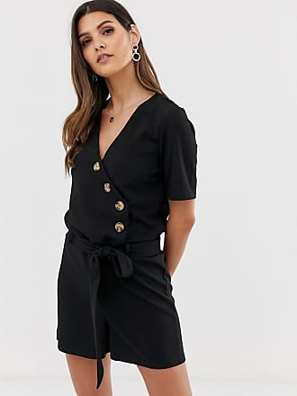 Y.A.S Bahia spotted button down playsuit-Black