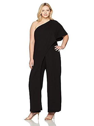 cd2dd964881cba Adrianna Papell Womens Size One Shoulder Crepe Melania Jumpsuit Plus,  Black, 16W