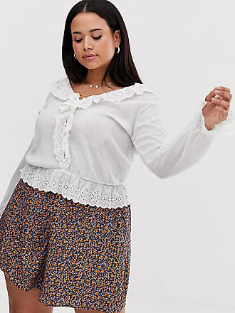 f6ef5f95e30ec1 Asos Curve ASOS DESIGN Curve top in crinkle with ruffle broderie trim