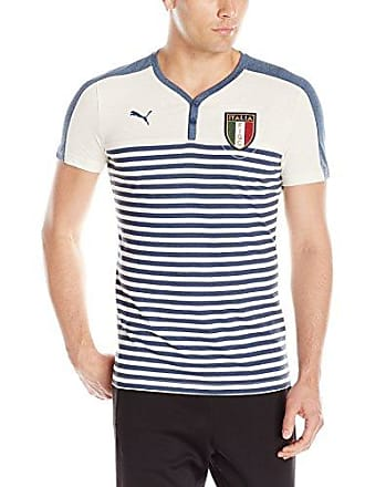 6a7b8f328 Puma Mens FIGC Italia Azzurri Henley Tee, Whisper White/Dark Denim, Small