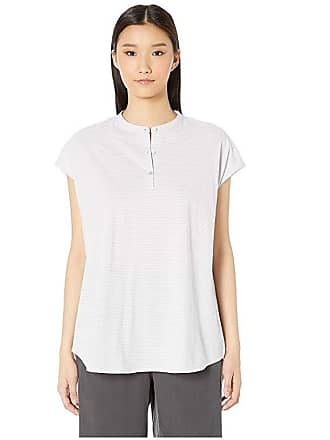 Eileen Fisher Ministripe Organic Cotton Jersey Mandarin Collar Tunic (Dark Pearl/White) Womens Clothing
