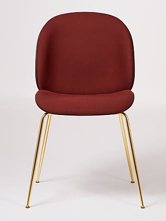 GUBI Beetle Dining Chair Front Upholstered Dark Pink & Brass