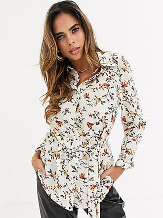 Missguided Hemd in Creme mit Blumenmuster und Gürtel-Cremeweiß
