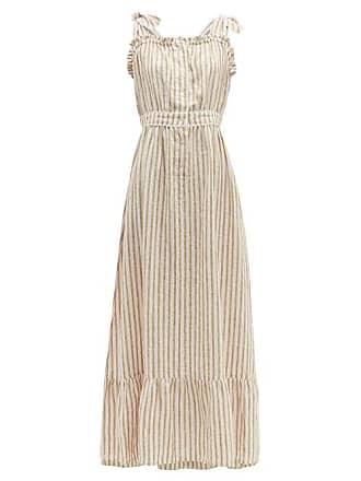 Wiggy Kit Scallop Edged Striped Linen Dress - Womens - Pink Stripe