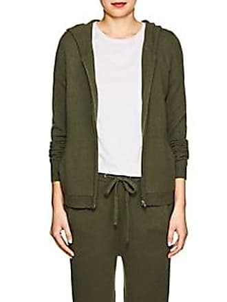 Barneys New York Womens Cashmere Zip-Front Hooded Sweater - Olive Size XS
