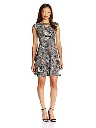 Gabby Skye Womens Petite Cap Sleeve Scoop Neck Knit A-line Dress, Black/Espresso, Medium
