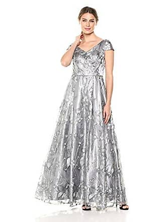 Alex Evenings Womens Long Cap Sleeve Embroidered Ballgown Dress with Sequin, Pewter Frost, 4
