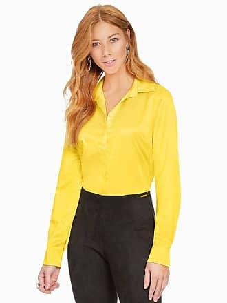 Principessa Camisa Social Feminina de Cetim Amarela Principessa Talita