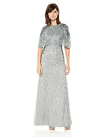 Adrianna Papell Womens All Over Beaded Gown with Pop Over Cape, Slate, 12