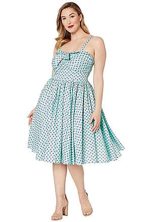 Unique Vintage Plus Size 1950s Golightly Swing Dress (Blue/Strawberry Print) Womens Dress