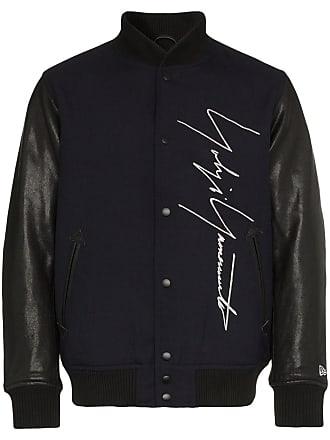 Yohji Yamamoto logo embroidered wool baseball jacket - Blue