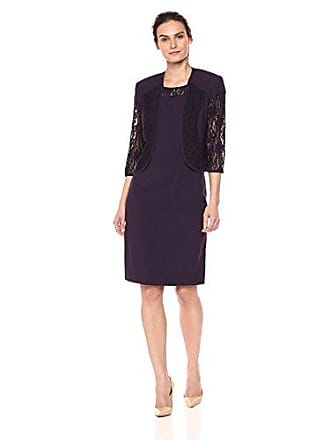ae2a58552ab Maya Brooke Womens Solid Jacket Dress W Lace Sleeve