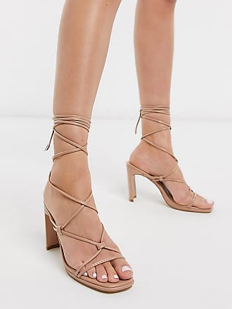 Z_Code_Z Exclusive Adali vegan ankle tie heel sandals in blush-Beige