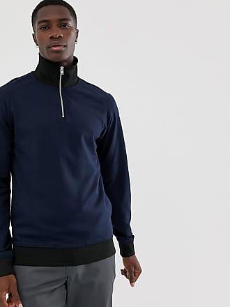 Selected half zip track sweatshirt - Navy