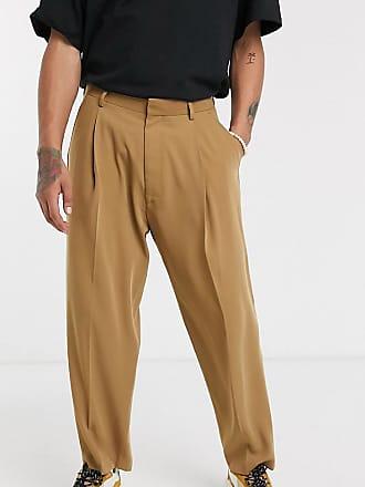 Noak wide leg trouser in darker camel-Brown
