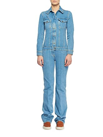 612b0e9f4ae56 Stella McCartney Long-Sleeve Button-Front Denim Straight-Leg Jumpsuit