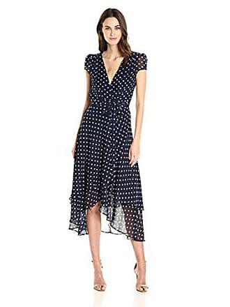 Betsey Johnson Womens Chiffon Dot Wrap Dress, Navy White 0