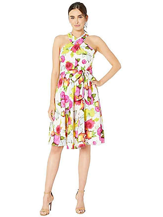 862e5ad8 Tahari by ASL Crisscross Halter Neck Georgette Dress with Side Tie  (Watercolor Floral) Womens