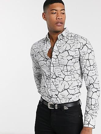 Twisted Tailor TALL - Camicia bianca con stampa effetto marmo-Bianco
