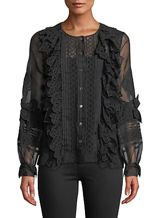 f5fecf81f43d8 Oscar De La Renta Lace-Trim Balloon-Sleeve Silk Shirt