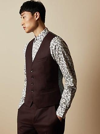 Ted Baker Debonair Plain Wool Waistcoat in Dark Red PICDEBW, Mens Clothing
