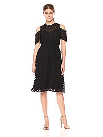 Ivanka Trump Womens Socail Cold Shoulder Floral Teture Midi Coctail Dress, Black, 6