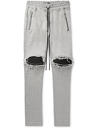 Amiri Mx1 Slim-fit Tapered Panelled Loopback Cotton-jersey Biker Sweatpants - Light gray