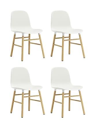 NORMANN COPENHAGEN Form Stuhl Gestell Eiche 4er-Set - weiß/Gestell Eiche natur/48x80x52cm