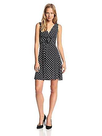 Star Vixen Womens Sleeveless O-Ring Dress, Black/White Dot, Medium