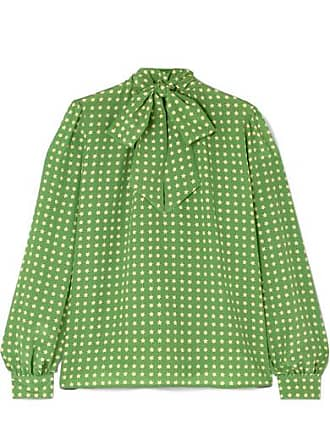 Saint Laurent Pussy-bow Printed Silk Blouse - Green