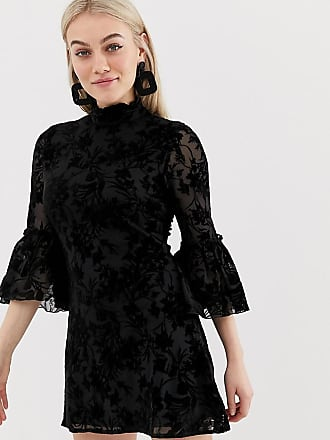Parisian high neck floral lace dress with flare sleeve - Black