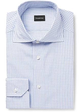 Ermenegildo Zegna Light-blue Checked Cotton Shirt - Blue