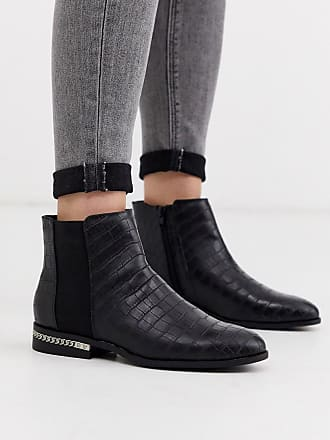 River Island River island flat ankle boot with chain detail in black