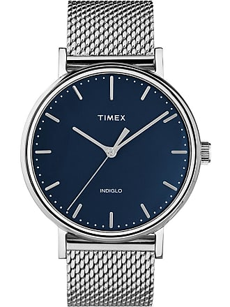 Timex Watch Mens Fairfield 41MM Stainless Steel Mesh Band Silver-Tone/stainless Steel/blue Item Tw2T37500Vq