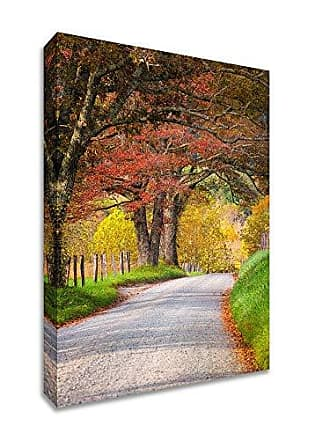 Tangletown Fine Art Country Road I Gallery Wrap Canvas Red/Green/Yellow/Gray