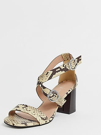 New Look wide fit multi strap heeled sandal in animal print - Brown