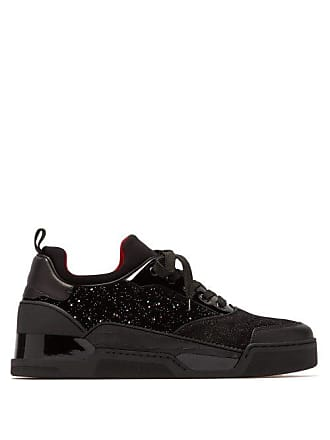 9a65264fddb Christian Louboutin Aurelien Glittered Velvet And Suede Trainers - Mens -  Black