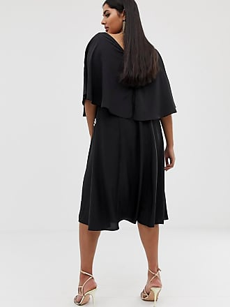 19e72a5c60fb89 Asos Curve ASOS DESIGN Curve - EXKLUSIVES Midikleid mit Kimonoärmeln und  schwarz-weißer Stickerei -