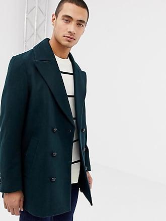Asos Zweireihige Jacke aus dunkelgrüner Wollmischung - Grün 410140d92f