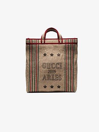 f0ab36babc05d6 Gucci beige Juta Arles print straw tote bag