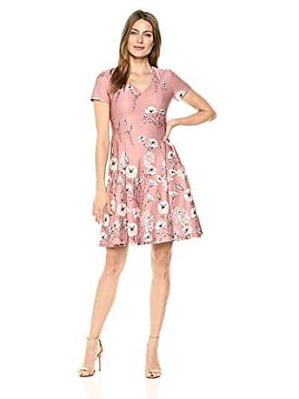 Ivanka Trump Womens Cap Sleeve Fit and Flare Dress, Clay/Blush Pink, 16