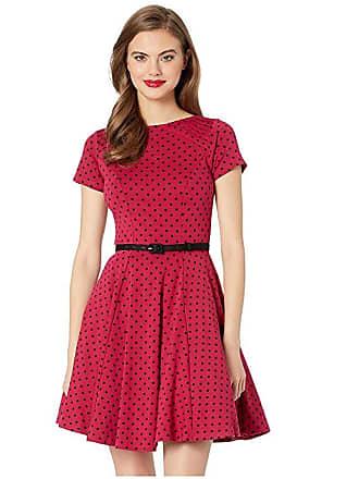 Unique Vintage Short Sleeve Fit Flare Dress (Pink/Black Dot) Womens Dress