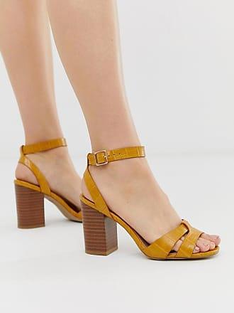 ba81edbbe3b4c5 New Look Sandales à talon carré avec brides croisées - Jaune - Jaune