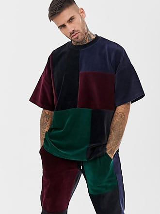 Asos Flerfärgad oversize-t-shirt i velour med patchwork-design 8b9a157d25cd4