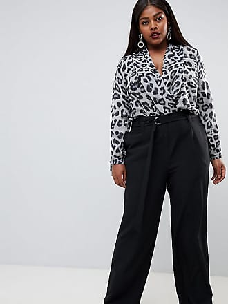 bd4fe7a2430 Outrageous Fortune Plus wide leg paper bag waist pants in black - Black