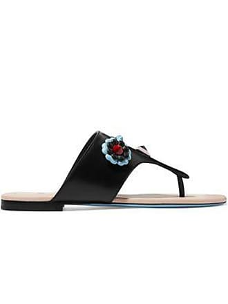 532da740e004 Fendi Fendi Woman Studded Floral-appliquéd Leather Slides Black Size 35