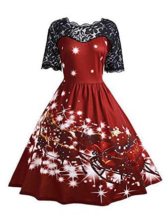 9cc1e5e543665a Kolylong Kleid damen Frauen Elegant Spitze Weihnachten Kleid Vintage  Rockabilly Kleid Retro Cocktailkleid Swing Kleid Rückenfrei