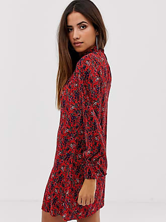 284e53c1676dd Asos mini high neck plisse swing dress with in floral print - Multi