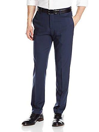 Haggar Mens Repreve Eclo Stretch Herringbone Stripe Slim Fit Plain Front Dress Pant, Navy, 38x32